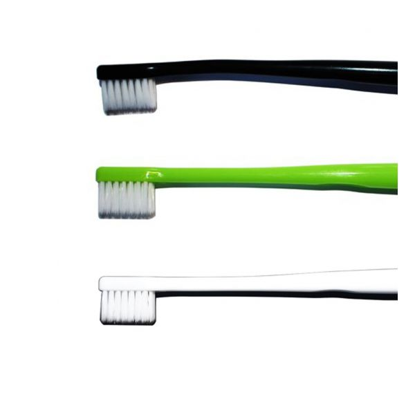 toothbrushes in black, white and green